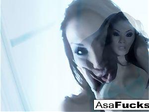 impressive Asa Akira plays with her muff